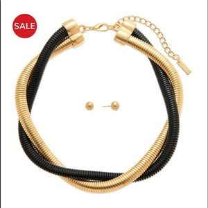 Omega Black & Gold Tone Necklace and Earring Set